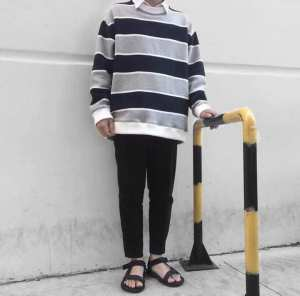 POLO Sweater Stripped Sọc Xám 2