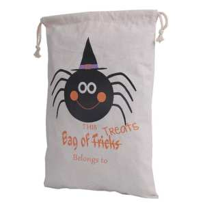 W-Toy Halloween Pumpkin Witch Bat Spider Pure Cotton Canvas Bags Beam Port Drawstring Sack Candy Gift Bags Style:4 #