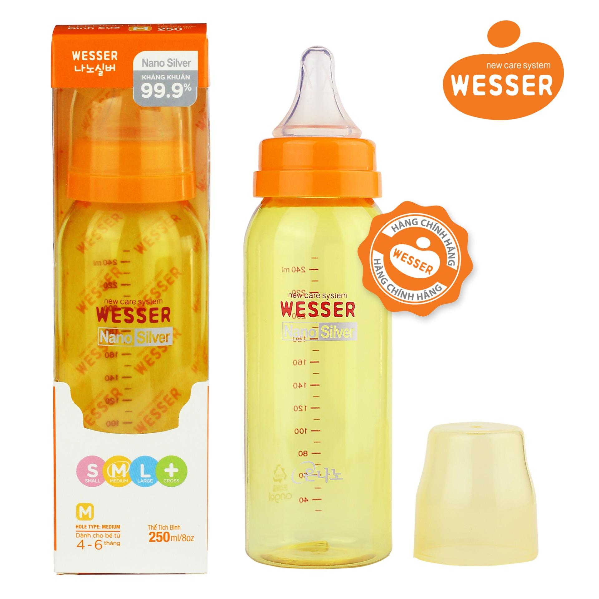 Bộ 2 Bình sữa Wesser Nano Silver cổ hẹp 250ml ( Màu vàng)