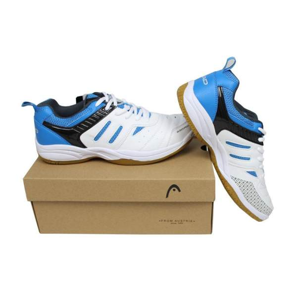 HEAD Badminton Shoes for Men And Women Sneaker Sports Super Estrella Hard Court Breathable Rubber Origin White and Blue - intl