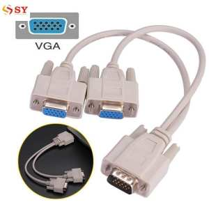So Young VGA 1PC To 2Monitor Male To Dual Female Y Adapter Splitter Cable Converter Cord - intl