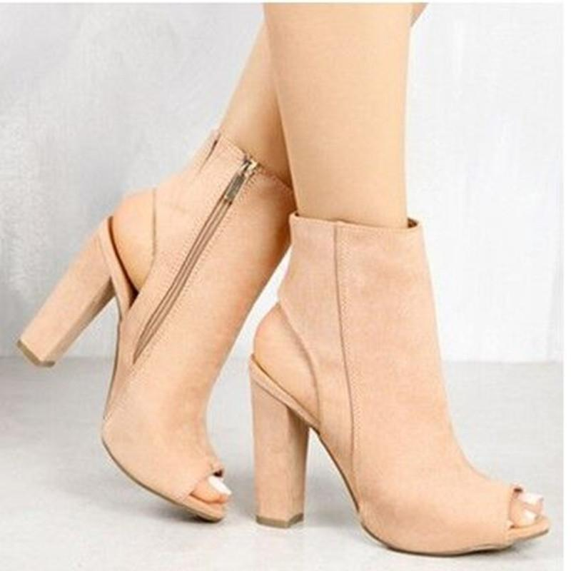 2018 Women Suede Leather New High-heeled Shoes Female Fish Mouth Boots Lady Chunky Pumps