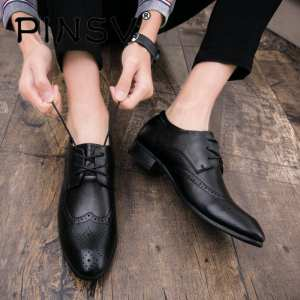 PINSV Spring And Autumn Vintage Fashion Business Casual Shoes Brook Leather Shoes - intl