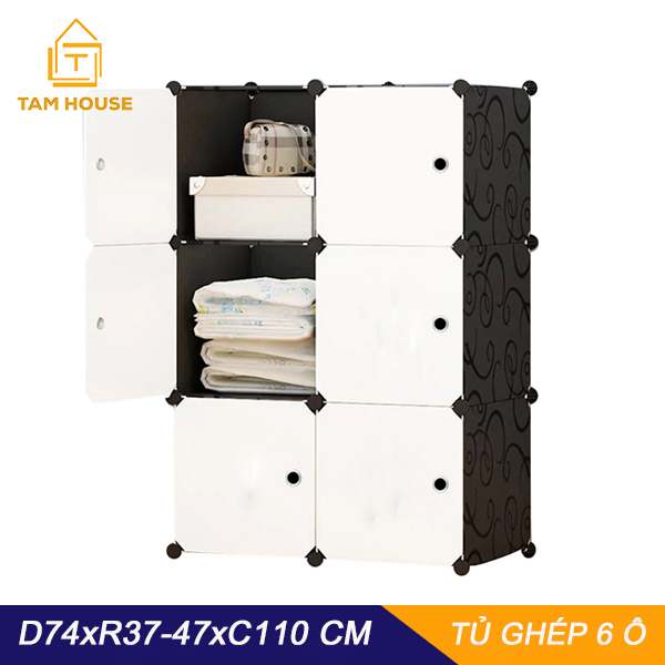 Tủ nhựa ghéptủ quần áotủ nhựa đựng quần áo đa năng tâm house đủ 6 ngăn - Giới hạn 5 sản phẩm/khách hàng