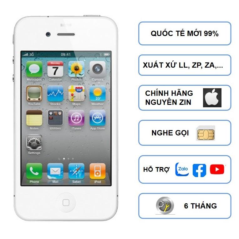 Điện thoại Iphone 4S cũ 16GB -Quốc tế không block SIM, Nghe gọi, Tải Ứng dụng bình thường phù hợp cho người lớn, người già, bạn trẻ yêu thích sự tiện dụng, nhỏ gọn, thẩm mỹ cao, sử dụng bền đẹp- Bảo hành 6 tháọa