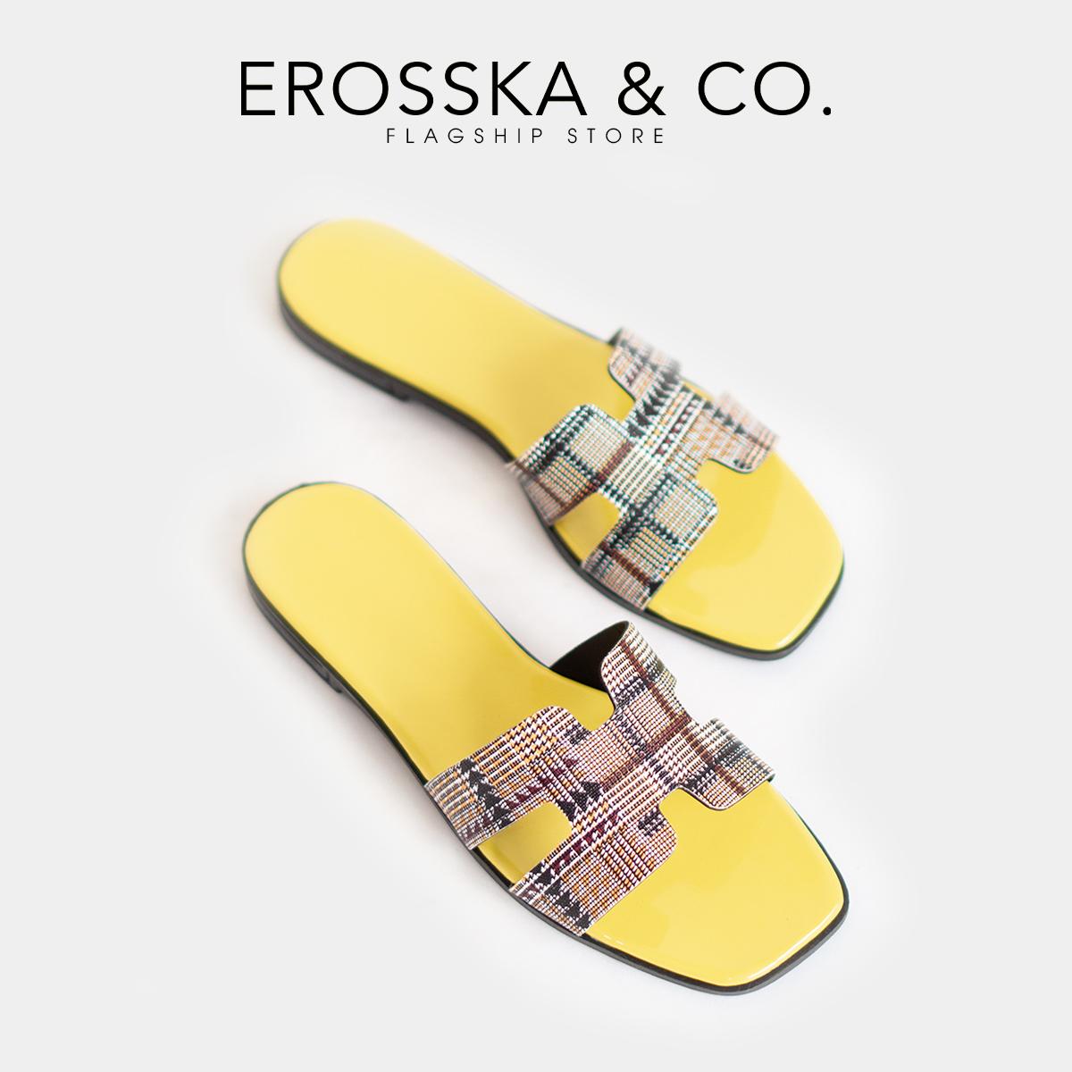 Dép nữ đế bệt chữ H quai ngang thời trang Erosska DE002 (PI)