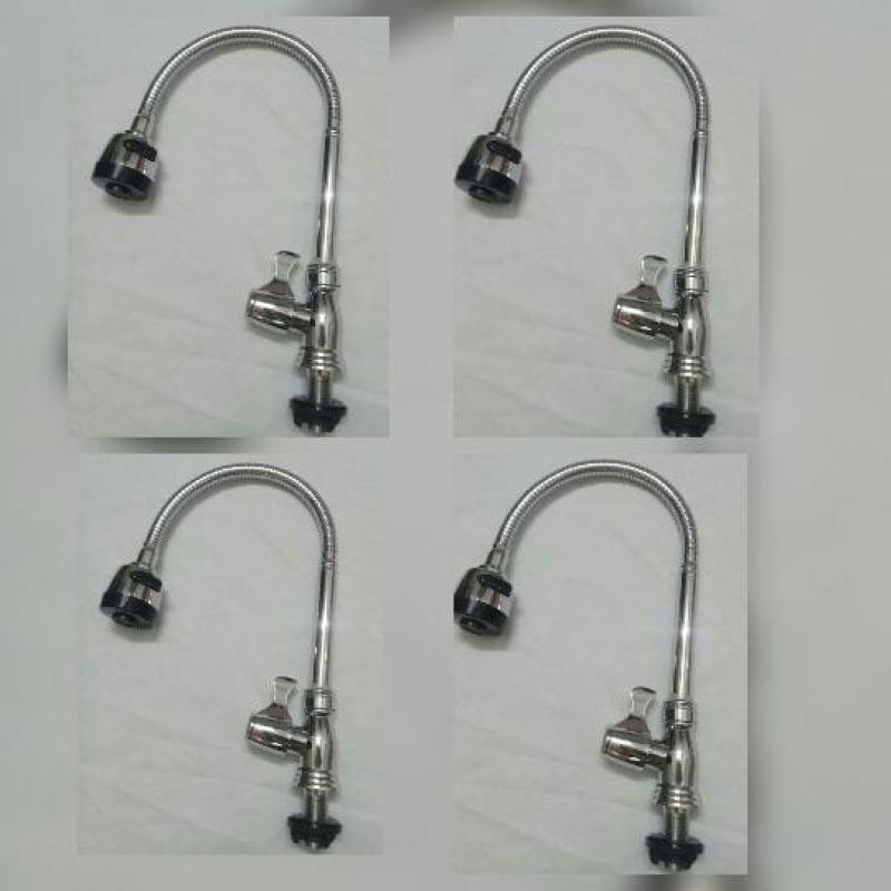 4 vòi rửa chén lạnh cắm chậu cần lò xo tay gạt-star,tặng 4 dây cấp nước