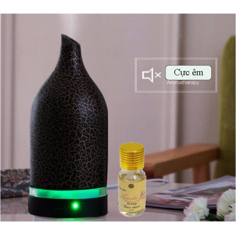 Bảng giá Máy khuếch tán tinh dầu gốm thấu quang đen bông dung tích 120ml 2 chế độ phun dành cho phòng dưới 30m2  tặng 10ml tinh dầu oải hương Ngọc Tuyết