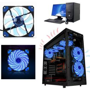Hình thu nhỏ sản phẩm 1 Pcs 15 LED 120mm 3Pin 4Pin PC CPU Computer Case Cooling Quite Fan Mod Cooler - intl