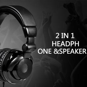 Hình thu nhỏ sản phẩm LingTud 2 In1 Foldable Heavy Bass Headphone Headset And Speaker With Mic For Smart Phones Tablet - intl