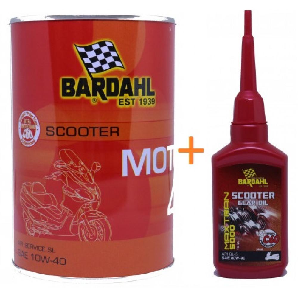 Combo Nhớt xe tay ga cao cấp Bardahl Scooter Moto 4 10W40 1 lít và nhớt hộp số Bardahl Gear Oil 80W90 150ml (thay miễn phí HCM)