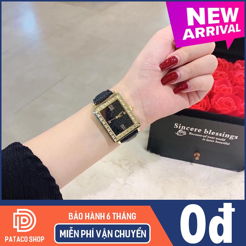 Đồng hồ thời trang nữ Huans H110 dây da cao cấp mặt vuông viền đính cườm sang chảnh mẫu mới cực Hot