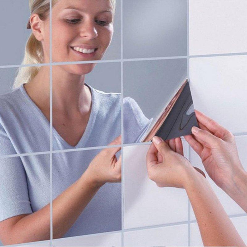 16 Cái Đề Can Dán Tường Vuông, Tự Dính, Chống Thấm Trang Trí Phòng Tắm, Nhà Bếp Kích Cỡ : 0.1mm - Quốc Tế
