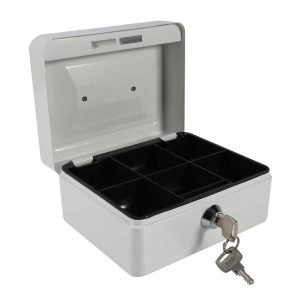 1Pc Mini Portable Steel Petty Lockable Cash Money Coin Safe Security Box Household (White) - intl