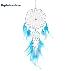 2 Circle Feathers Handmade Dreamcatcher Net Wall Hanging Home Decor Gifts - intl