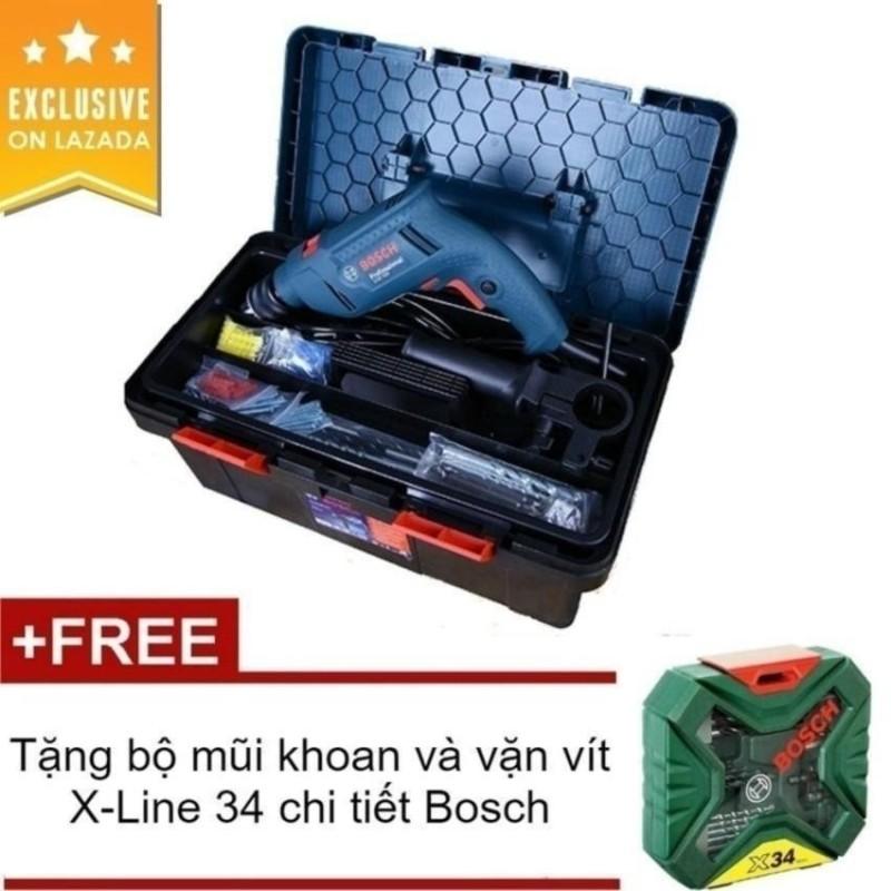 Bộ máy khoan BOSCH GSB 550 Freedom SET 550W và 90 chi tiết kèm hộp đựng dụng cụ (Xanh) + Tặng bộ mũi khoan và vặn vít X-Line 34 chi tiết Bosch 2607010608