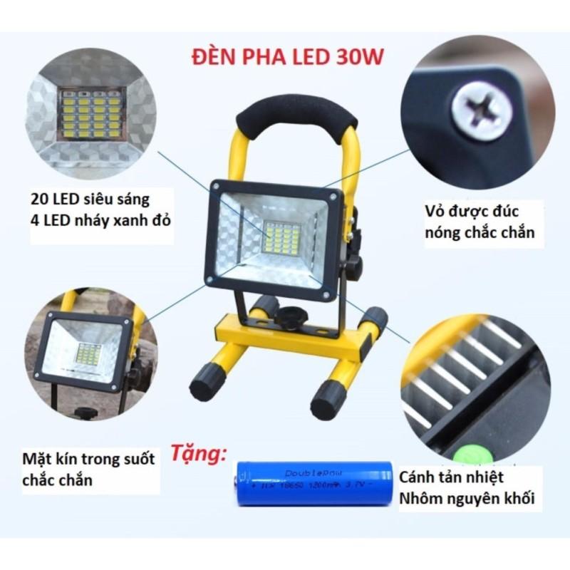 Bảng giá Đèn pha LED 30W đa năng chống nước IP65 tặng kèm 1pin sạc 18650 Doublepow 1200mAh