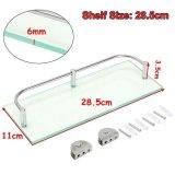 Modern Glass Corner Holder Rectangle Shelf Wall Mounted Bathroom Shower Storage (28.5cm) -
