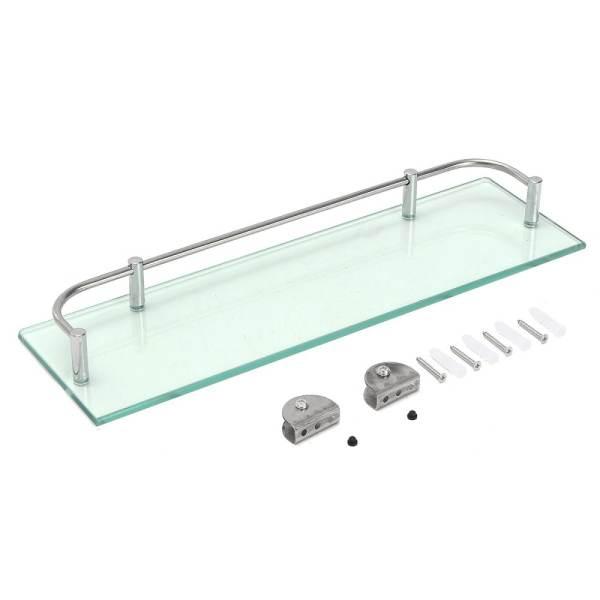 Modern Glass Corner Holder Rectangle Shelf Wall Mounted Bathroom Shower Storage (38.5cm) -