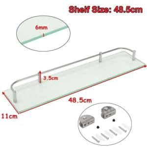 Modern Glass Corner Holder Rectangle Shelf Wall Mounted Bathroom Shower Storage (48.5cm) -