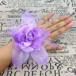 Wrist Corsage Bridesmaid Sisters hand flowers Artificial Bride Flowers For Wedding Party Decoration Bridal Prom 1Pcs Wholesale purple - intl