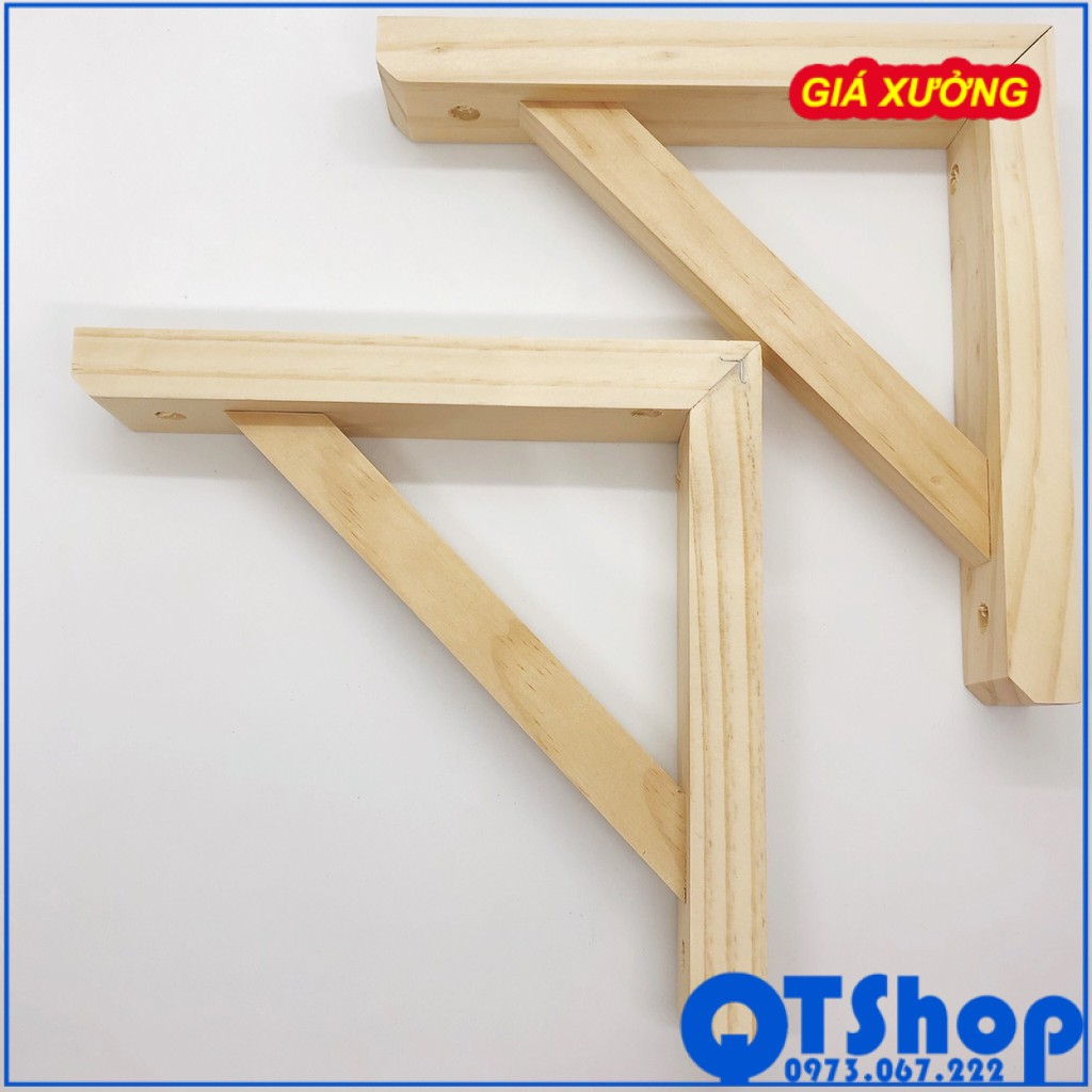 Cặp chân kệ gỗ treo tường, eke gỗ, giá đỡ chữ L màu gỗ tự nhiên