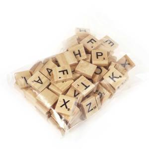 Hình ảnh 100pcs Wooden Scrabble Tiles Capital Letters Board Toy - intl