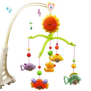 Hình ảnh Children Babies Kids Sunflower Style Rotatable Music Crib Bell with Fish Duck Learning Educational Mobile Bed Hanging Toys - intl