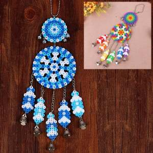 Hình ảnh DIY Dream Catcher Windbell With 5mm Fuse Beads Toy For Over 3 Years Children Blue and White - intl