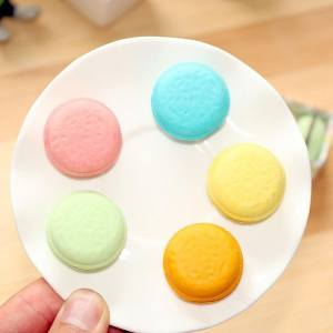 Hình thu nhỏ sản phẩm iooilyu Set of 5 Multi-colors Macarons Dorayaki Cookie Rubber Eraser for Pupils Kids School Office Stationary Kits - intl