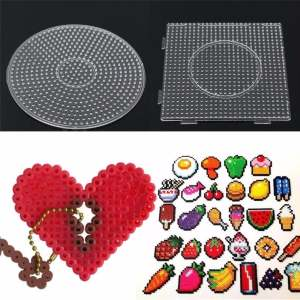 Hình ảnh Kids Large Pegboards Perler Bead Hama Fuse Beads Clear Square Design Board Newly - intl
