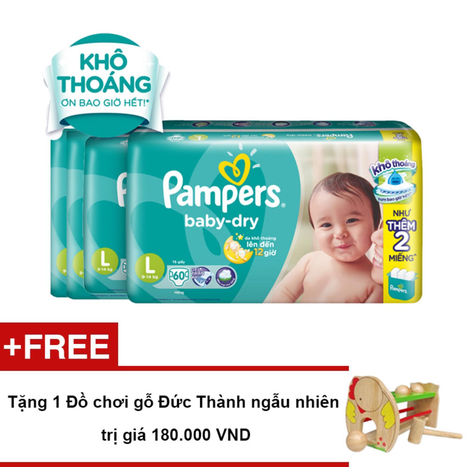 Bộ 4 gói Tã Dán Pampers Baby Dry size L 60 miếng - Tặng 1 Đồ chơi gỗ Đức Thành ngẫu nhiên trị giá 180.000 VND