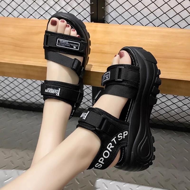 Giày Sandal nữ đế độn, quai dán siêu đẹp, cá tính – Dép sandal nữ viền chữ A – dép nữ học sinh đi học