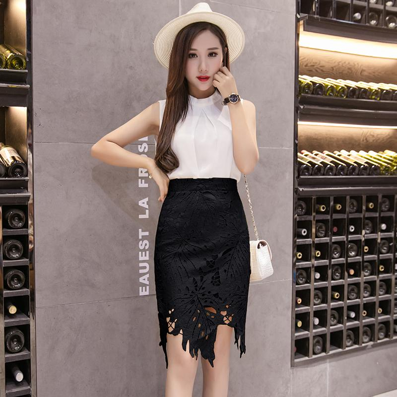 Water Soluble Lace Skirt Female Summer Korean Style Irregular Crochet Hollow out One-step Skirt