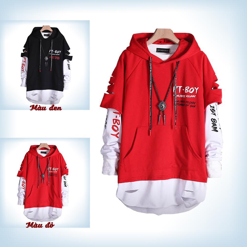 Áo Hoodies Nam Mũ Trùm Đầu Chữ WHAT Phối Giả Hai Lớp Trẻ Trung Thời Trang Đường Phố Phong Cánh Fashion4men AO TOP NAM 90000126C