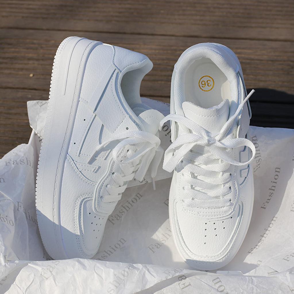 giày thể thao nữ màu trắng mẫu mới HOT 2021 chất liệu da PU đế cao 3cm dễ làm sạch DOZIMAX