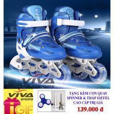 Giày Trượt Patin Gắn Đinh Phát Sáng Bánh - VIVA SPORT ( SIZE L ) ( TẶNG CON QUAY SPINNER & THÁP EIFFEL CAO CẤP )