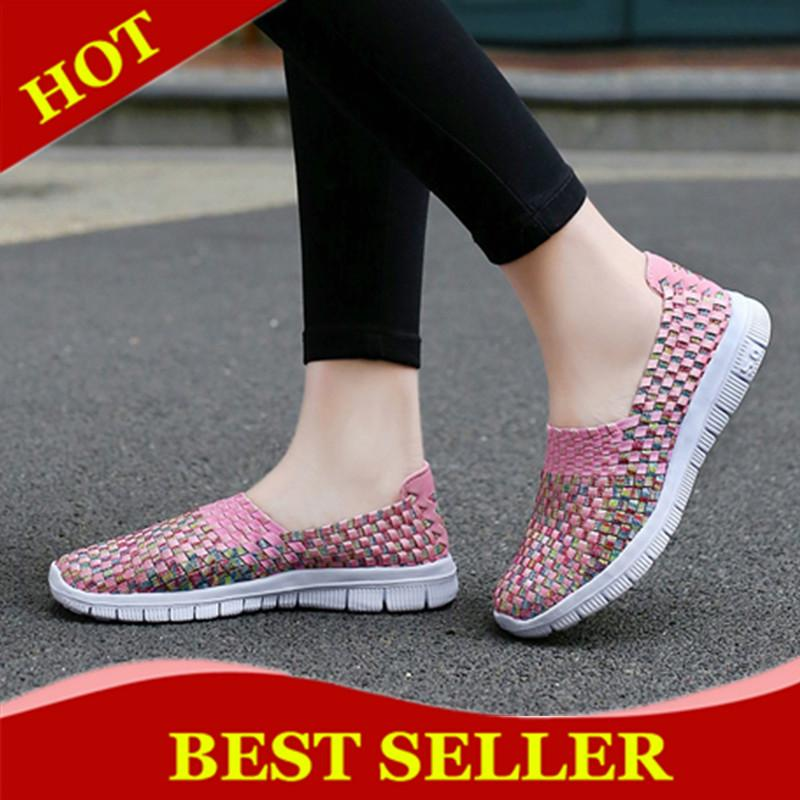 ZOQI Women Casual Shoes Breathable Handmade Woven Shoes Comfortable Light Weight Flat Shoes (Pink) - intl