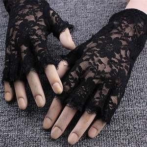 Hình ảnh 2x Short Lace Half Fingerless Gloves Gothic Style Ladies Fancy Dress Accessories Black - intl