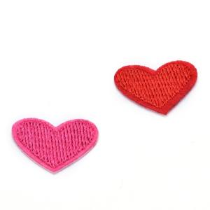 Hình thu nhỏ sản phẩm 5Pcs Cute Solid Red Heart Embroidered Iron On Or Sew On Patch Deep Pink