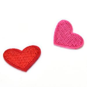 Hình thu nhỏ sản phẩm 5Pcs Cute Solid Red Heart Embroidered Iron On Or Sew On Patch Red