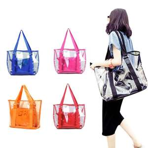 Amart Fashion Women Beach Bag Jelly Candy Clear Transparent Handbag Tote Shoulder Bags (black) - intl