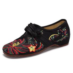 Big Size Flower Embroidered Chinese Knot Vintage Flat Casual Women Loafers Shoes - intl