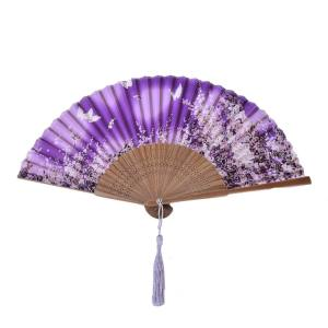 Hình thu nhỏ sản phẩm Chic Folding Sequins Hand Fan Wedding Party Use Fan Embroidered Peacock Tail ZS07 - intl
