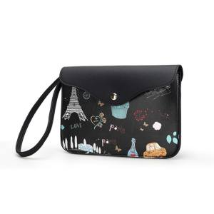 Fashion Print Women Clutch Bag PU Leather Envelope Bag Evening Bag Handbag(Black) - intl