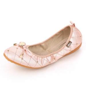 Fashion Women Big Size Heart Metal Check Folded Egg Roll Flat Shiny Ballet Shoes