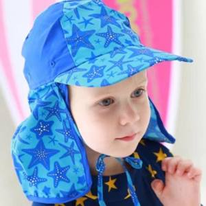 Kids Girl Boy Head Face Neck UV Protection Swim Beach Sun block Hat Fabric Cap Outdoor Sport Cycling Hiking Hat(Blue star) - intl