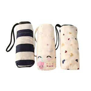 Hình thu nhỏ sản phẩm Mini Pocket 5 Folding Compact Princess Anti UV Sun Rain Umbrella Women Parasol Ceramic Dolls - intl