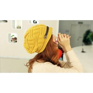 Hình thu nhỏ sản phẩm noion Fashion Baggy Knit Snow Hat Winter Snowboarding Crochet Beanie,Yellow - intl