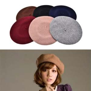 Hình thu nhỏ sản phẩm Plain Beret Hat French Beret Winter Autumn Women Girls Fashion Hats Wine Red - intl